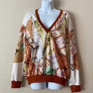 Clover Canyon Geometric Pattern V Neck Pullover